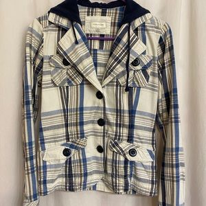 Plaid hooded button front jacket small
